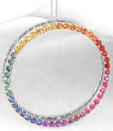 Large Rainbow Sapphire Circle Pendant in 14k white gold