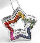 Natural Rainbow Sapphire Star Pendant in 14k white gold