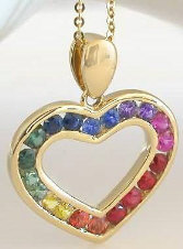 Channel Set Rainbow Sapphire Heart Necklace in 14k yellow gold
