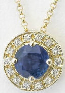 Blue Sapphire Pendant with Diamond Halo in 14k yellow gold