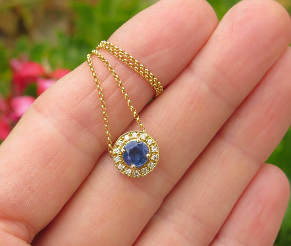 Details about  /14k Yellow Gold Genuine Blue Sapphire Accented Latin Cross Sliding Pendant