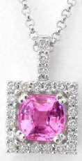 Natural Cushion Cut Pink Sapphire Pendant with Diamond Halo in 14k white gold