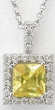 Genuine Princess Yellow Sapphire and Diamond Pendant in 14k white gold