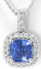 Cushion Cut Sapphire Pendant with Diamond Halo in 14k white gold