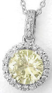 Natural  Round Yellow Sapphire and Diamond Pendant in 14k white gold