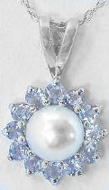 Cultured Pearl and Tanzanite Ballerina Pendant in 14k white gold