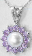 Cultured Pearl and Pink Sapphire Ballerina pendant in 14k white gold
