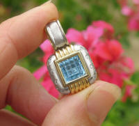 Blue Topaz Enhancer in 14k white and yellow gold