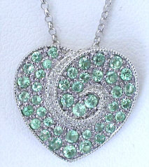 Pave Tsavorite and Diamond Heart Pendant in 14k white gold