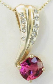 Pink Tourmaline and Diamond Pendant  in 14k yellow gold