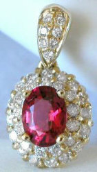 Pave Diamond and Rubellite Pendant in 14k yellow gold