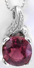 Pink Tourmaline and Diamond Pendant in 14k white gold