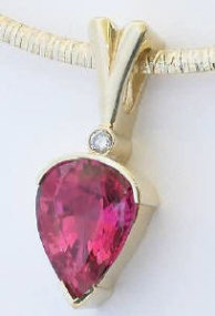 Rubellite Tourmaline and Diamond Pendant in 14k yellow gold