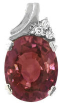 Nigerian Pink Tourmaline and Diamond Pendant in 14k white gold
