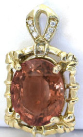 Nigerian Cognac Tourmaline and Diamond Pendant in 14k yellow gold