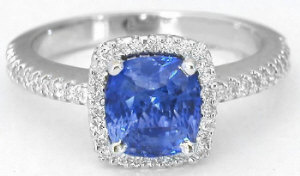 Blue Sapphire Ring - Three Stone Sapphire and Diamond Ring in 14k white gold