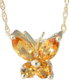 Citrine Butterfly Necklace in 14k Yellow Gold