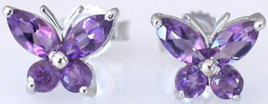 Amethyst Butterfly Earrings in 14k White Gold
