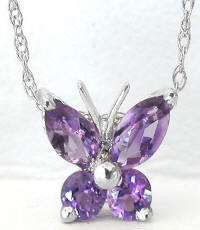 Amethyst Butterfly Necklace in 14k White Gold