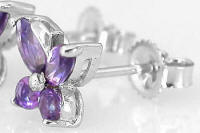 14k White Gold Amethyst Butterfly Gemstone Earrings