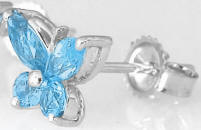 14k White Gold Blue Topaz Butterfly Gemstone Earrings