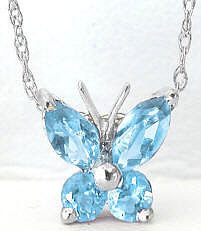 Blue Topaz Butterfly Necklace in 14k White Gold