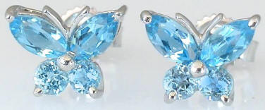 Blue Topaz Butterfly Earrings in 14k White Gold