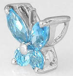 14k White Gold Blue Topaz Butterfly Gemstone Pendant