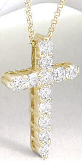 Round Diamond Cross Necklace in Yellow Gold