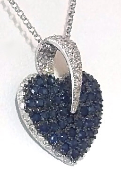 Pave natural sapphire and diamond heart pendant from myjewelrysource natural pave blue sapphire and diamond heart necklace in white gold aloadofball Image collections