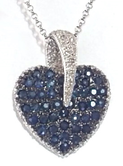 Pave natural sapphire and diamond heart pendant from myjewelrysource pave blue sapphire and diamond heart necklace aloadofball Gallery