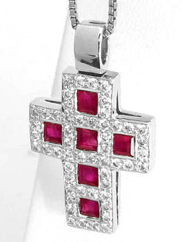 Ruby Cross Pendant in 18k