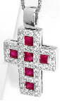 18k White Gold Ruby Cross Necklace