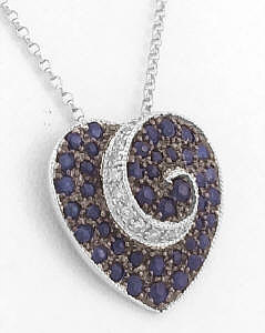 Natural Blue Sapphire Heart Pendant with Diamonds in 14k white gold