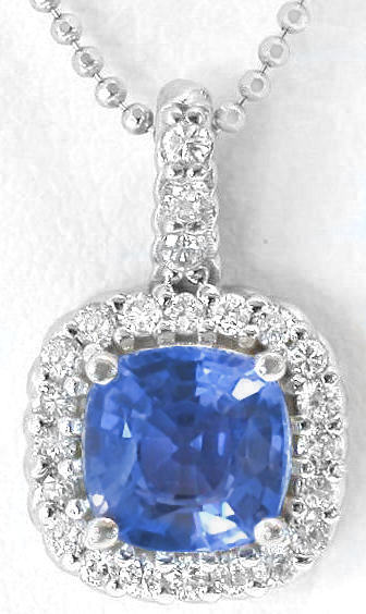 Ceylon cushion sapphire and diamond pendant gp 5092 cushion cut ceylon blue sapphire and diamond pendant in 14k white gold aloadofball Image collections