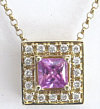 Princess Cut Pink Sapphire and Diamond Pendant in 14k yellow gold