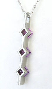 Three Stone Line Pendant in 14k with Princess Cut Stones