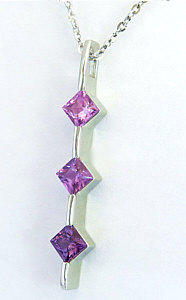 Shades of Purple Sapphire and Pink Sapphire Necklace in 14k White gold