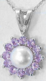 Pink Sapphire and 6mm Pearl Pendant in 14k white gold