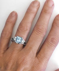 Cushion Aquamarine and White Sapphire Engagement Ring in 14k white gold