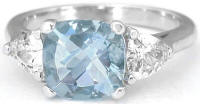 Aquamarine and White Sapphire Gemstone Engagement Ring in 14k white gold