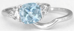 2.65 ctw Aquamarine and White Sapphire Ring and Band Engagement Set  in 14k white gold