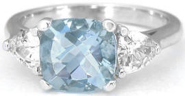 2.65 ctw Aquamarine and White Sapphire Ring in 14k white gold