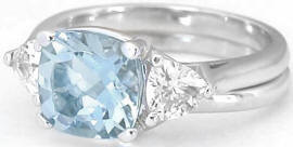 Aquamarine and White Sapphire Engagement Ring in 14k white gold