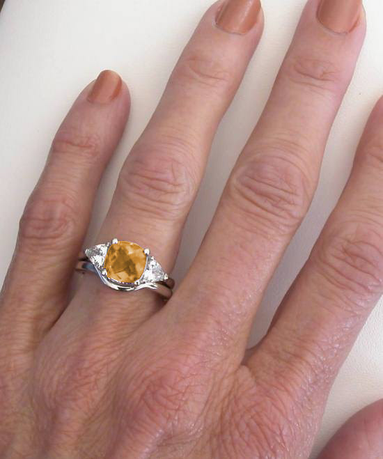 Past Present Future Citrine Engagement Ring In 14k White