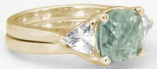 Past Present Future Prasiolite Engagement Rings in 14k Yellow Gold