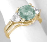 3 Stone Prasiolite Engagement Rings in 14k Gold