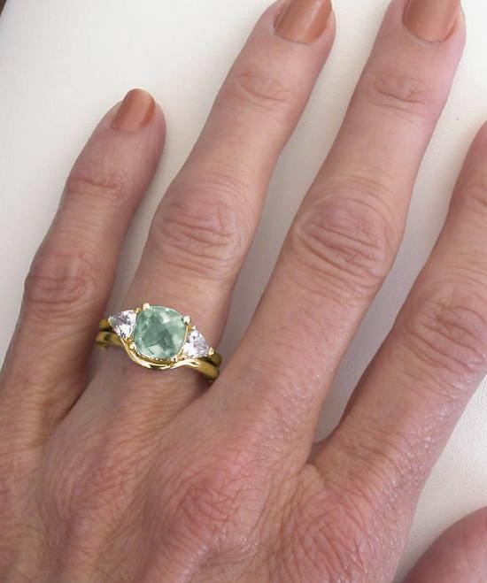 3 Stone Prasiolite Engagement Ring In Past Present Future