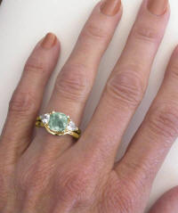 Prasiolite Engagement Rings with Matching Band