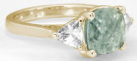 8mm Cushion Checkerboard Cut Prasiolite Engagement Ring in 14k